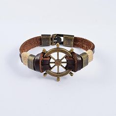 European+Men's+Bronze+Plated+Stainless+Steel+Tankers+Leather+Bracelets+–+USD+$+7.99