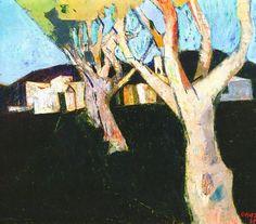 Schilderij 'Platanen bij Cogolin' (1957) van Wim Oepts (1904-1988).