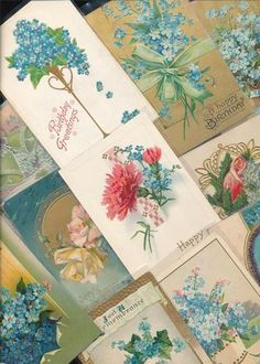 15 VICTORIAN POSTCARDS Blue FLOWERS Antique Shabby greetings Chic LOT-bbb765