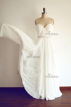 Simple Chiffon Beach Wedding Dress Strapless Deep by misdress