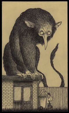 Edward Gorey was the master of understated terrors, and if he'd ever illustrated the madness-inducing monsters of HP Lovecraft, they might look like John Kenn Mortensen's Post-It Monstres, in which horrific beasts loom over remarkably unperturbed kiddies.