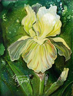 Hand Painted White Iris Trivet by ggsfunctionalart on Etsy