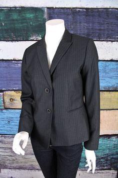 Calvin Klein Gray Pinstriped Pin Striped Blazer Jacket SIZE 6 Career Work Office #CalvinKlein #Blazer #Career