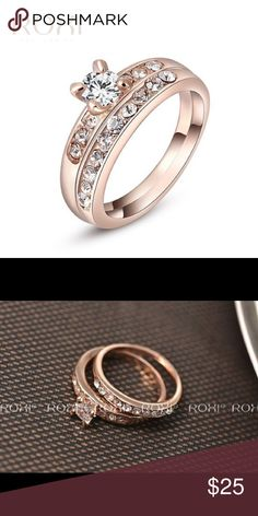 Roxi Rose Gold Plated Solitaire CZs Ring Set NEW NEVER WORN.  Roxi. Size 8 Rose Gold Plated Solitaire CZs Ring Set. Jewelry Rings