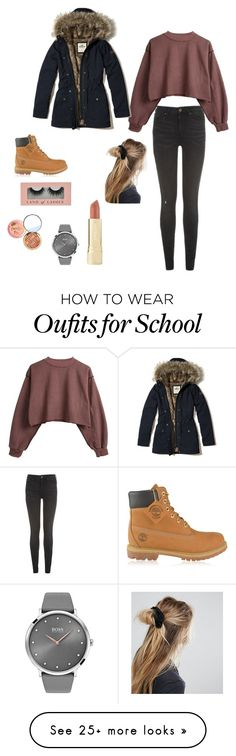 """Day in school"" by jojos1009 on Polyvore featuring Tommy Hilfiger, Timberland, Hollister Co., BOSS Black, Axiology and ASOS"