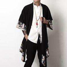 2018 Plus Size Men Fashion Long Outwear Shirts Chinese Style Vintage Half Sleeve Irregular Male Trench Stylish Casual Cloak Coat Male Kimono, Mens Kimono Jacket, Japanese Streetwear, Cotton Kimono, Cotton Linen, Plus Size Men, Plus Size Vintage, Mode Streetwear, Streetwear Clothing