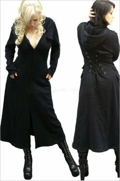 ALCIS Long Black Gothic Trench Coat with Lacing