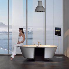 Repabad Ovalis 185 F freistehende Oval Badewanne Schürze Glas Siebdruck Dark Black