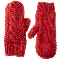 Asos Cable Mitten With Fleece Lining ($16) ❤ liked on Polyvore
