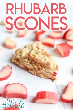 This rhubarb scone recipe makes tender, delicious scones bursting with fresh rhubarb flavor. And they're easy to make in about 30 minutes! Rhubarb Scones, Fruit Scones, Savory Scones, Blueberry Scones, Brunch Recipes, Sweet Recipes, Dessert Recipes, Easy Recipes, Breakfast Recipes