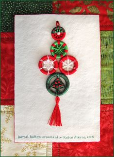 Dorset buttons, Christmas ornament, by Robin Atkins