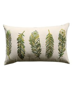 """Love this 20""""L x 12""""H Cotton Pillow w/ Feather Embroidery on #zulily! #zulilyfinds"""
