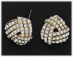 Simply Whispers hypoallergenic and nickel free Jewelry pierced earrings posted gold crystal knot