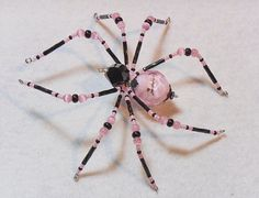 Audrey  pink and black glass beaded spider goth sun by llanywynns, $18.00