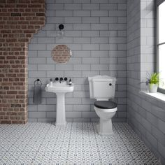 Fulham Grey Wall Tile - Tiles from Tile Mountain Grey Wall Tiles, Wall And Floor Tiles, White Walls, Black And White Tiles, Green And Grey, Brick Tiles, Wall Boxes, House Tiles, Fulham