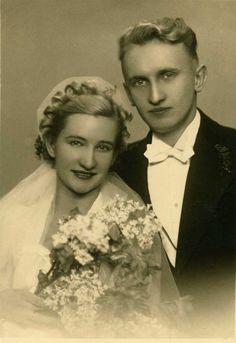 Vintage European Bride and Groom Photo circa 1935