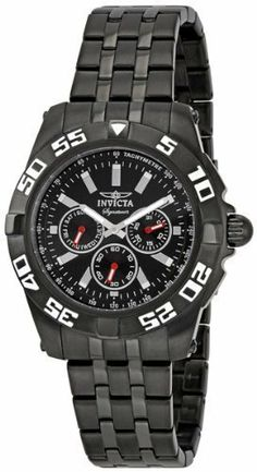 """Invicta Signature II Mens Watch 7304 Invicta. $119.99. Classic Round Black Face. All Stainless Steel Case & Band. """"3 Eye Display of Day, Date & Seconds with Red Luminous Hands"""". Analog with Silver Tone Tritnite Luminous Hands & Markers. Sleek Black Matte and Mirror Finsh Adjustable Stainles Steel Band"""