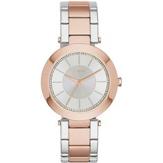 DKNY Stanhope Gray Sunray Crystal Dial Two-tone Ladies Wach ($85) ❤ liked on Polyvore featuring jewelry, watches, quartz movement watches, analog watches, analog wrist watch, gray watches and crystal crown