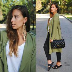 Sheinside Trench Coat, Zara White T Shirt, Chanel Bag, Zara Black Slides