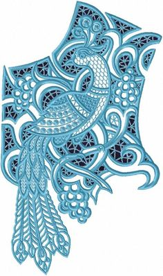Advanced Embroidery Designs - Cutwork Lace Peacock Yoke
