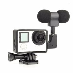 New Arrival External 3.5mm Stereo Microphone + Mini USB Adapter + Protective Standard Frame Kit for GoPro Hero 4 3+ 3 Camera