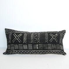 Bogolan pillow, African Mudcloth Pillow, African Mud Cloth Pillow, Black Tribal…