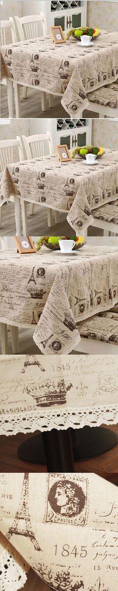 europe linen cotton table cloth small crown letter printed lace edge tablecloth wedding party supply toalha de mesa retangular