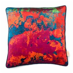 Paesaggio Scarlatto Square Printed Velvet Cushion: A luxurious printed velvet cushion with feather filled pad. Contrast fabric back. Susi Bellamy creates vibrant, colorful 'art for the sofa' textiles based on original and unique artwork painted in the studio. Her artwork is inspired by her great love of colour and the time she spent in Florence, Italy. These cushions work well in groups - adding a pop of color to both classic and contemporary interiors. Feather Filled Pad. Designed, Printed…