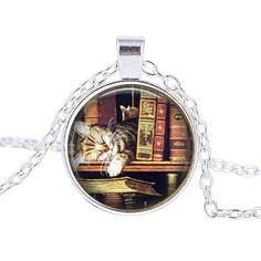 Bookcase Kitten Glass Cabochon Necklace
