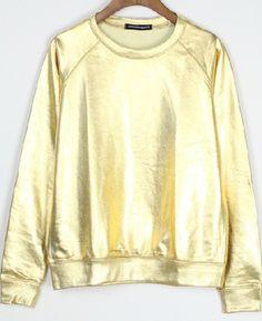 Metallic Gold Round Neck Reglan Sleeve Sweatshirt US$33.00