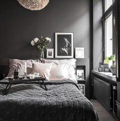 Dark Bedroom Ideas: Unique Decors with Captivating Atmos.- Dark Bedroom Ideas: Unique Decors with Captivating Atmosphere Source by - Dark Gray Bedroom, Grey Bedroom Decor, Small Room Bedroom, Small Rooms, Home Bedroom, Dark Bedrooms, Dark Grey Bedding, Dark Master Bedroom, Charcoal Bedroom