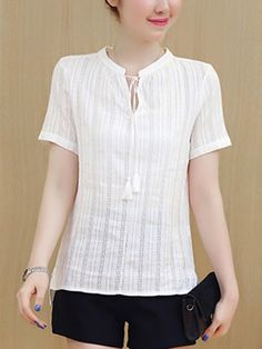 Best 11 Specifications Product Name: Tie Collar Side-Vented Plain Blouse Weight: Embellishment: Side-vented Package Included: Top / 1 Sleeve: Short Sleeve Material: Cotton/linen Pattern Type: Plain Occasion: Basic / Casual Collar&neckline: Tie Colla Cheap Blouses, Shirt Blouses, Blouses For Women, Blouse Styles, Blouse Designs, Stitching Dresses, Linen Blouse, Blouse Online, Ladies Dress Design