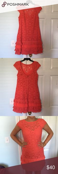 Coral Lace Dress Cap sleeve, lace w/ruffles, low back, cute and comfy- perfect for summer weddings or high school dances!! Jessica Simpson Dresses Mini