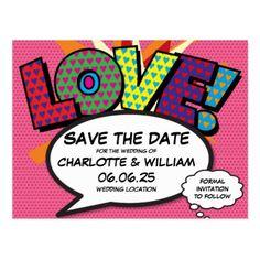 Comic Book Pop Art Wedding Love Save the Date Postcard - postcard post card postcards unique diy cyo customize personalize