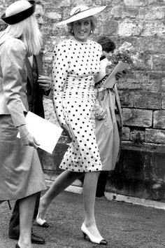 Princess Diana in a polka dot design Ever the icon of sophistication, this polka dot number is a lesson in timeless style.