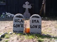 """Halloween - Humorous tombstones In front of """"haunted house"""" during Halloween season, Northern California - Haunted attractions are entertainment venues designed to thrill and scare patrons. Most attractions are seasonal Halloween businesses. They include haunted houses, corn mazes, and hayrides, and the level of sophistication of the effects has risen as the industry has grown."""