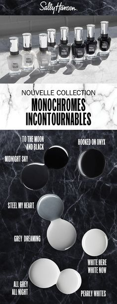 Monochromes Incontournables | Complete Salon Manicure Hair And Makeup Tips, Hair And Nails, Hair Makeup, Beauty Nails, Hair Beauty, Beauty Stuff, Black Toe Nails, Strong Nails, Sally Hansen