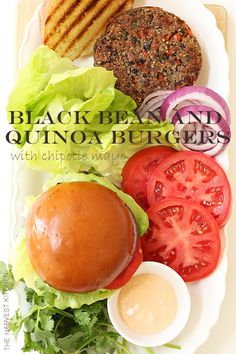 from The Harvest Kitchen / Black Bean and Quinoa Veggie Burgers - deliciously moist, incredibly flavorful healthy gluten-free burgers - the chipotle mayo is to die for! @theharvestkitchen.com