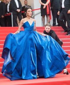 Winnie Harlow stunnedin a blueZuhair Muraddress at Cannes film festival 2017
