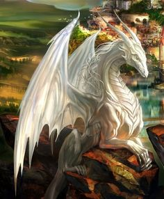 White Dragon Fantasy Art - Kristi Walker Home Mythical Creatures Art, Mythological Creatures, Magical Creatures, Fantasy Artwork, Fantasy Drawings, Art Drawings, Cool Dragons, Beautiful Dragon, Dragon Artwork