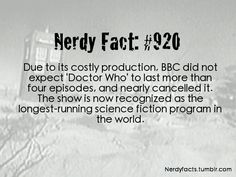 (Source.) Wow...thank you BBC for not cancelling Doctor Who and letting it become what it is today...