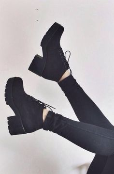 shoes boots black laced high heels chunky heel winter boots jeans black boots block heel lace up block heels ankle boots high heel girl grunge shoes g. Black High Heels, Black Ankle Boots, Ankle Booties, White Heels, Dream Shoes, Crazy Shoes, Cute Shoes, Me Too Shoes, Shoe Boots