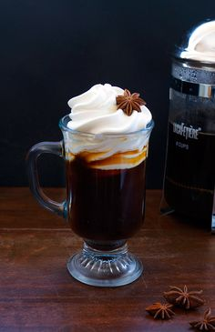 Anise Cream Coffee - Rye, Coffee, Simple Syrup, Infused Anise & Vanilla Whipped Cream, Star Anise for Garnish.