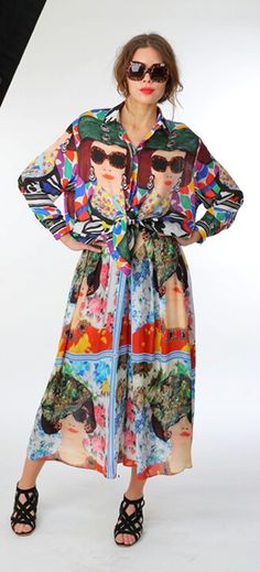 I'd wear this all day everyday!  Tata Naka Spring 2014 Face Print Shirt  Dress