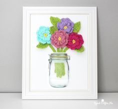 DIY crochet flowers on canvas