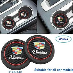 Luckily-2.8 Inch Diameter Oval Tough Car Logo Vehicle Travel Auto Cup Holder Insert Coaster Can 2 Pcs Pack for Cadillac Accessories (for Cadillac)