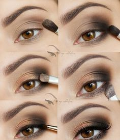 I love my addiction: Quick and easy to make :) - step by step Perfect Makeup, Gorgeous Makeup, Pretty Makeup, Tutorial Sombra, Ojos Color Cafe, Smoky Eyes, Peinados Pin Up, Simple Makeup Looks, Gothic Makeup