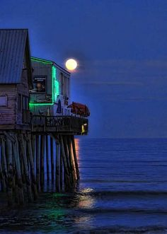 Full moon at The Pier  Old Orchard Beach, Maine. One of my favorite spots to see a live band and dance.