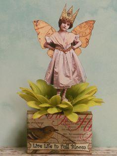 altered art fairy mixed media vtg look Spring flower ooak paper pixie fantasy #originalvintagelookmixedmediapaper3D