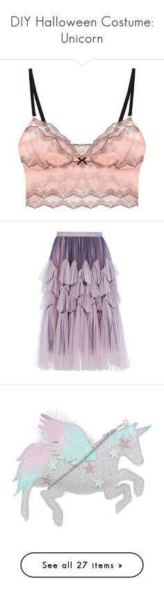 """""""DIY Halloween Costume: Unicorn"""" by polyvore-editorial ❤ liked on Polyvore featuring intimates, tops, crop top, pink, eberjey, skirts, bottoms, юбки, rose skirt and purple tulle skirt"""